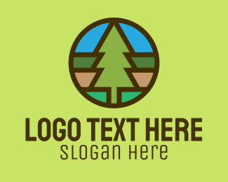 Pine Forest - Pine Tree Camping Badge logo design