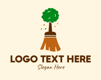 Sweeper - Natural Tree Broom logo design