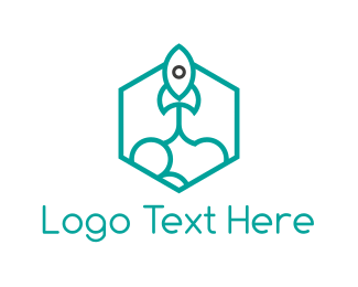 Spacecraft - Rocket Hexagon logo design