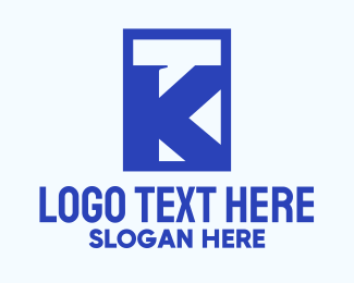Rectangular - Blue Chat Letter K logo design