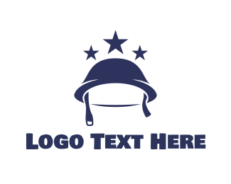 Us - Blue Infantry Helmet  logo design