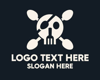 Skull And Crossbones - Cutlery Pirate Skull & Crossbones logo design