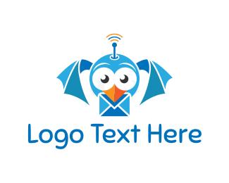 Antenna - Bird Mail logo design