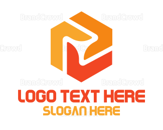 Engineer - Orange Hexagon Propeller logo design