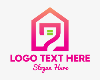 Green And Pink - Pink House logo design