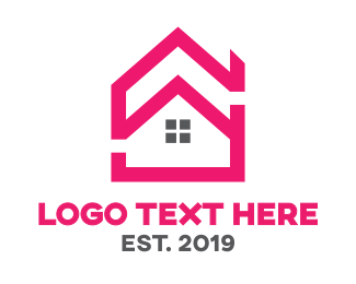Realtor - Pink House Outline logo design