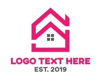 Duplex - Pink House Outline logo design