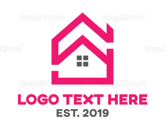 Architect - Pink House Outline logo design
