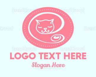 Adorable - Sleepy Cat logo design