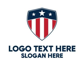 University - Patriotic USA Shield logo design