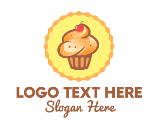 Fruity - Brown Muffin Cupcake Cherry logo design