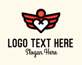 Winged Heart Romantic Logo
