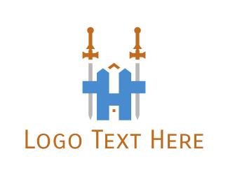 Sword - Medieval Sword H logo design