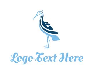 Seabird - Blue Stork logo design