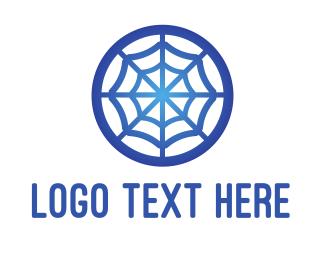 Tarantula - Blue Web Letter O logo design