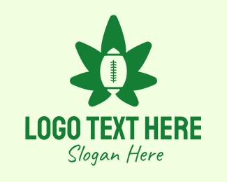 Rugby - Green Rugby Cannabis Leaf logo design