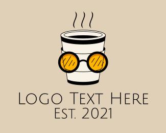 Coffee Stand - Cool Eye Glass Take out Coffee logo design