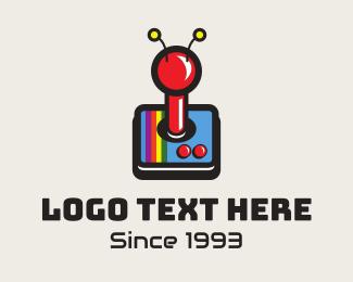 Super Mario - Vintage Classic Joystick logo design