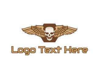 Motorcycle - Gold Wing Skull logo design