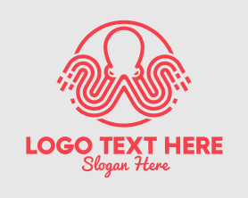 Squid - Red Octopus logo design