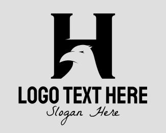 Gothic - Black Raven Letter H logo design