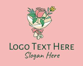 Bouquet - Rose Flower Florist Bouquet logo design