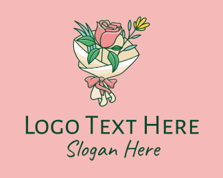 Valentines Day - Rose Flower Bouquet  logo design