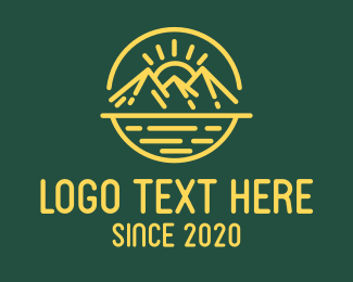 Camping - Sunny Mountain Camping Landscape logo design