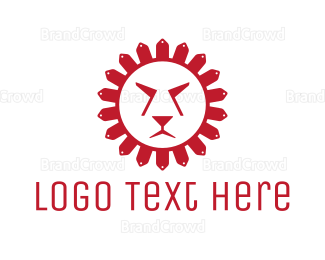 Cheetah - Red Sun Lion logo design