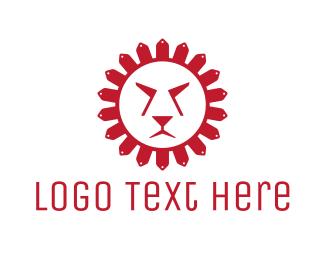 Red Tiger - Red Sun Lion logo design