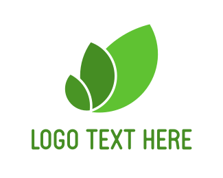 Eco Energy - Three Green Leaves logo design