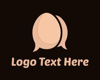 Talking - Egg Chat logo design