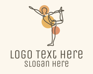 Wellbeing - Dancer Pose Yoga Monoline logo design