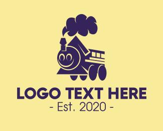 Train - Jolly Train Mascot logo design