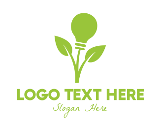 Incandescent - Green Leaf Bulb logo design