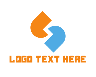 Linked - Blue & Orange Quotes logo design