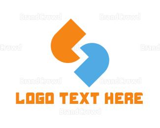 Social - Blue & Orange Quotes logo design