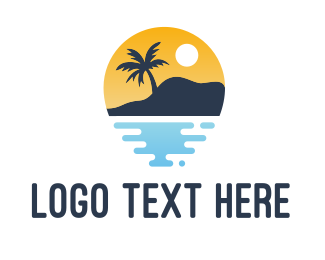 Surfing - Tropical Sunset Hill logo design