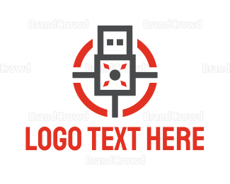 Data Transfer - Modern USB logo design