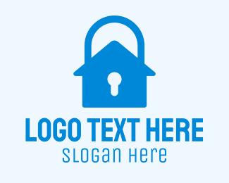 Home Security - Blue Home Security Lock logo design