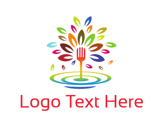 Flavour - Colorful Fork Fountain logo design