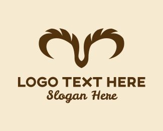 Animal - Brown Ram Horns  logo design