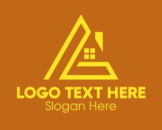 Roof Repair - Yellow House Letter L  logo design