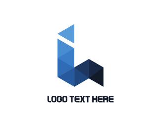 Letter L - Blue Origami logo design