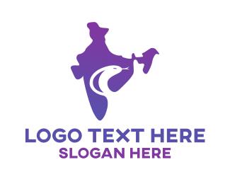 India - Purple India Serpent logo design