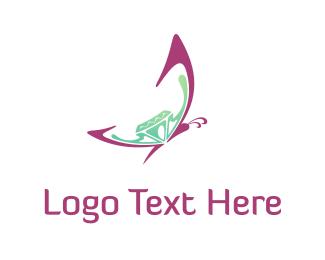 Crystal - Butterfly & Diamond  logo design