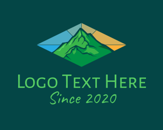Mountainside - Stained Glass Green Mountain logo design