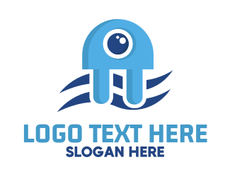 Tentacles - Blue Jellyfish Plug logo design