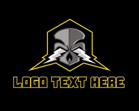 Steampunk - Punk Thunder Skull logo design