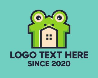 Home Rental - Green Frog House logo design